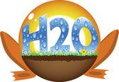 Sfera di sole con testo di h2o — Vettoriale Stock