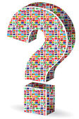 Question mark with world flags pattern — Stock Vector