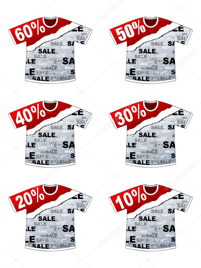 Percent discount on t-shirt — Stock Vector #8036977