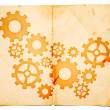 Old paper with gears on it — Stock Photo #8084376