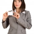 Business woman with white card in hand — Stock Photo #8084430