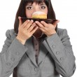 Young woman ready to eat a donut — Stock Photo #8084436
