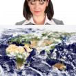 Business woman with world map presentation — Stock Photo #8084476