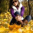 Girl in autumn leaves — Stock Photo #8084483