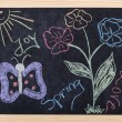 Spring drawing on blackboard — Stock Photo