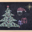 Christmas tree drawing on blackboard — Stock Photo