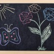 Stock Photo: Spring drawing on blackboard
