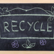 Recycle word written on blackboard - 图库照片