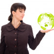 Business woman with green planet in hand — Stock Photo #8088012