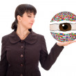Business woman with contry flag ball in hand — Stock Photo