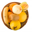 Fresh fruits in a wum bowl — Stock Photo