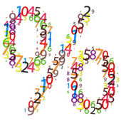 Percent sign made of colorful digits — Stock Photo
