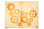 Old paper with gears on it — Stock Photo