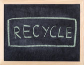 Recycle written on blackboard — Stock Photo