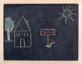 House for sale children draw — Stockfoto