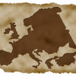 Old Paper Background with european map - Stock Photo