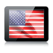 Tablet icon with american flag — Stock Vector