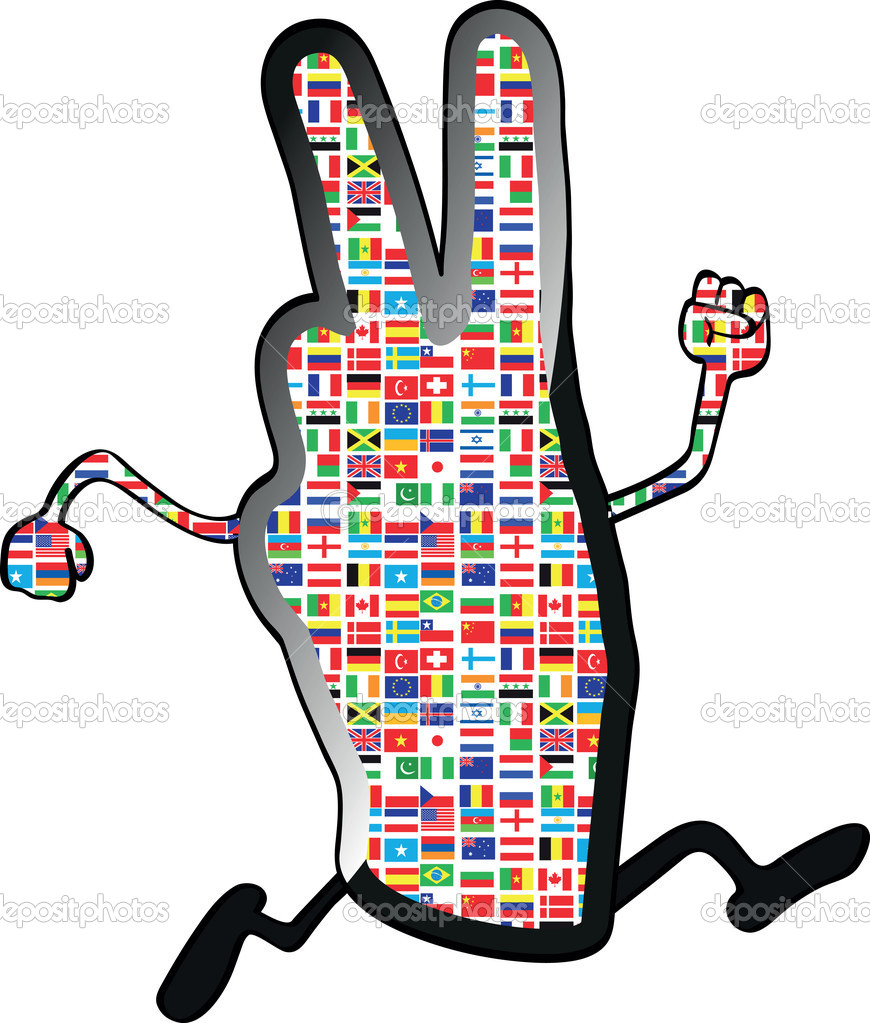 Human hand giving victory sign  Stock Vector #9156875