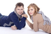 Man and woman doing arm wrestling — Stock Photo