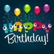 Happy Birthday Greeting Card. — Stockvector  #10229903