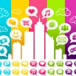 Colorful City with Social Media Icons — Stock Vector