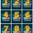 Stock Vector: Happy Birthday Numbers