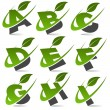 Stock Vector: Swoosh Green Alphabet with Leaf Icon Set 1