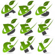 Swoosh Green Alphabet with Leaf Icon Set 1 - Stock vektor