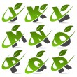 Swoosh Green Alphabet with Leaf Icon Set 2 - Stock vektor