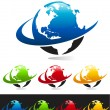 Swoosh Planet Earth Icons — Stock Vector