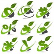 Swoosh Green Symbols with Leaf Icon Set 5 - Stock vektor