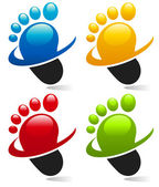 Swoosh Foot Icons — Stock Vector