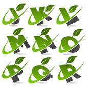 Swoosh Green Alphabet with Leaf Icon Set 2 — Stock Vector