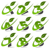 Swoosh Green Numbers with Leaf Icon Set 4 — Stock Vector