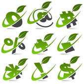 Swoosh Green Symbols with Leaf Icon Set 5 — Stock Vector