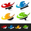 Swoosh Currency Symbols — Stock Vector