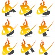 Royalty-Free Stock Immagine Vettoriale: Swoosh Flame Alphabet Set 1