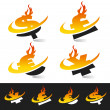 Swoosh Flame Currency Symbols — Stock Vector