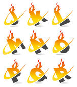Swoosh Flame Alphabet Set 2 — Vettoriale Stock