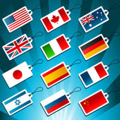 Tags Representing World Flags — Stock Vector