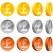 Pound Coins — Stock Vector