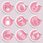 Pink Baby Shower Stickers — Stock Vector