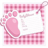 Pink Baby Shower Invitation — Stock Vector