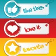 Like, Love and Favorite Tags — Stock Vector