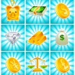 Gold, Money and Financial Icons — Stock Vector
