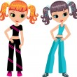 Two girls who are going in for sports - Stock Vector
