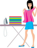 Young woman irons clothes — Stock Vector
