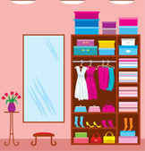 Wardrobe room. Furniture — Stock Vector