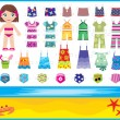 Paper doll with summer set of clothes - Stock Vector