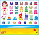 Paper doll with summer set of clothes — Vector de stock